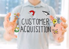 Cutomer Acquisition with man holding his hands. Customer Acquisition with young man holding his hands royalty free stock image