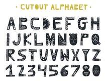 Cutout ABC - Latin alphabet. Unique handmade letters with folk art ornament in scandinavian style. Cutout ABC - Latin alphabet. Unique handmade letters folk art Stock Photos