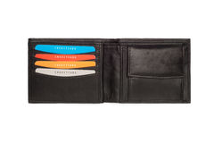 Cutout of Black Leather Wallet with Card Holders Stock Photo