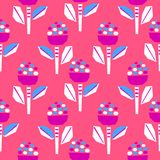 Cutout bold bright pink flower seamless pattern. Modern paper floral shapes surface print design vector illustration
