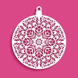 Cutout paper Christmas decoration with lace pattern. Ornamental Christmas ball, cutout paper decoration with crochet lace pattern, circle template for laser royalty free illustration