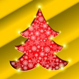Christmas tree with golden border, snowflakes and sparkles Royalty Free Stock Image