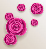 Cutout flowers - beautiful roses, paper craft Royalty Free Stock Image