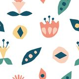 Cutout flowers and floral element seamless pattern. Scandinavian geometric abstract modern plants and leaves. Simple vector background. Hand drawn graphic stock illustration