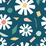 Cutout flowers and floral element seamless pattern. Scandinavian geometric abstract modern plants and leaves on navy blue. Simple vector background. Hand drawn stock illustration