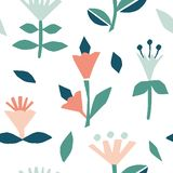 Cutout flowers and floral element seamless pattern. Scandinavian geometric abstract modern plants and leaves. Simple vector background. Hand drawn graphic vector illustration