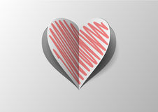 Cutout And Folded Paper Heart With Red Hatch Royalty Free Stock Photography