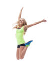 Cutout of happy young blonde posing in jump Stock Photos