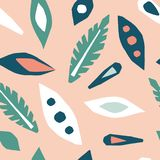 Cutout leaves seamless pattern. Scandinavian geometric abstract modern. Simple vector background. Hand drawn graphic design for paper, textile, fabric royalty free illustration