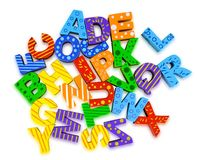 Cutout letters. Alphabet preschool letters letter abc block letter educational toy Stock Images
