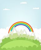 Cutout mountain landscape with rainbow. Stock Photo