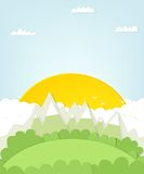 Cutout mountain landscape with sun. Stock Image