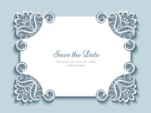 Cutout paper card with lace corners Stock Image