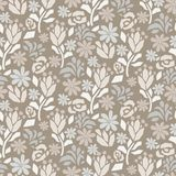 Cutout paper flower gray beige seamless vector pattern. Floral botanics in dusty elegant color modern pallete for fabric print stock illustration
