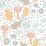Cutout paper flower seamless vector pattern. Floral botanics in pastel color modern pallete fro fabric print stock illustration