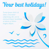 Cutout paper flower summer vector background Royalty Free Stock Photos