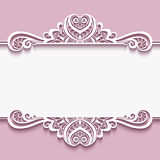 Cutout paper frame with lace border ornament Royalty Free Stock Photos