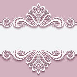 Cutout paper frame with lace border ornament. Elegant cutout paper frame with lace border ornament, greeting card or invitation template Stock Photography
