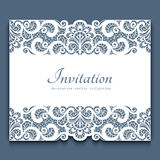Cutout paper frame with lace border ornament Royalty Free Stock Image