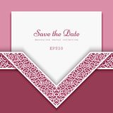 Cutout paper frame with lace border pattern. Cutout paper frame with ornamental lace border pattern, elegant decoration for wedding invitation or save the date royalty free illustration