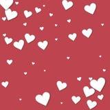Cutout paper hearts. Scatter pattern on crimson. Background. Love concept. Vector illustration stock illustration
