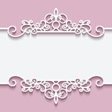 Cutout paper lace frame. Greeting card or invitation template Stock Photos
