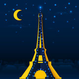 Cutout paper night Eiffel tower Stock Images
