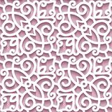 Cutout paper ornament, seamless lace pattern. Cutout paper background, lace texture, lacy ornament, abstract seamless pattern in pink color stock illustration