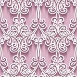 Cutout paper ornament, swirly seamless pattern Stock Images