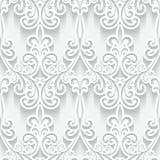 Cutout paper ornament, white seamless pattern. Ornamental white background with cutout paper swirls, swirly seamless pattern royalty free illustration
