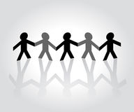 Cutout Paper People. Holding hands Royalty Free Stock Photos