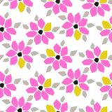 Cutout paper pink bold flower seamless vector pattern. Floral botanics in neon bright color modern pallete for fabric print royalty free illustration