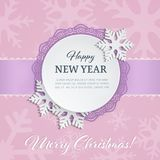 Cutout paper round label with ornamental frame and 3d snowflakes on the soft pink winter background with snowflake silhouettes. Merry Chrismas and Happy New Stock Image