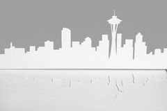 Cutout paper silhouette of Seattle city, USA Royalty Free Stock Image