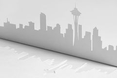 Cutout paper silhouette of Seattle city, USA Royalty Free Stock Photography