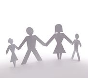 Cutout people. Family of four standing holding hands royalty free stock photos