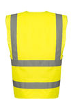 Cutout of Rear of Yellow Safety Vest. Rear of a yellow reflective safety vest stock photography