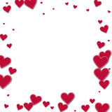 Cutout red paper hearts. Stock Photo