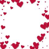 Cutout red paper hearts. Bordered frame on white background. Vector illustration Royalty Free Stock Photos