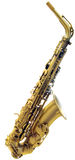 Cutout of Saxophone. Golden saxophone isolated on white background with clipping path Royalty Free Stock Photo