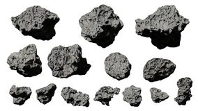 Group of asteroids isolated on white background. Cutout set, group of flying asteroids on white ground stock illustration