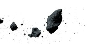 A swarm of asteroids isolated on white background 3d illustration. Cutout set, group of flying asteroids on white ground stock illustration