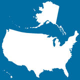 Cutout silhouette map of USA Royalty Free Stock Photography