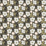 Cutout style dense flower pattern vector. Seamless texture for print. Rustic style dark colors floral repeat texture vector illustration