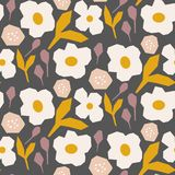 Cutout style flower dark brown pattern vector. Seamless texture for print. Cutout style flower pattern vector. Seamless texture for print. Rustic style dark royalty free illustration