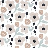Cutout style flower pattern vector. Seamless texture for print. Rustic style soft pastel floral repeat texture stock illustration