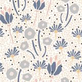 Cutout style flowers seamless vector pattern. Floral botanics in pastel color modern pallete fro fabric print stock illustration