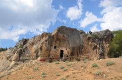 Cuts are also remains of ancient rock afyonkarahisar. Afyonkarahisar in gullies and rock, ancient, turkey, where the formation of the Mediterranean civilization Stock Photo