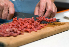 The cuts beef. On a chopping board Royalty Free Stock Image