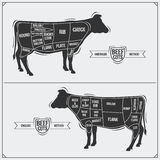 Cuts of beef. American and English method. Royalty Free Stock Photo